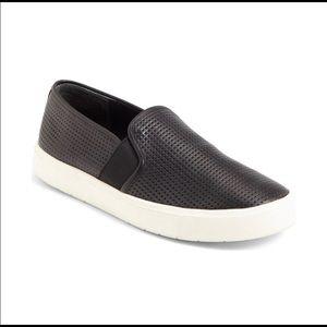 Vince Black Leather Perforated Blair Slip-ons 8